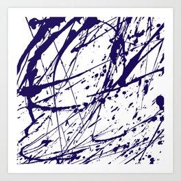 Modern abstract navy blue watercolor brushstrokes pattern Art Print