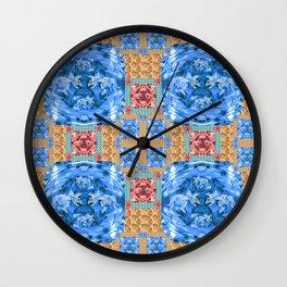 Vibrant Dinosaur Pixel Quilt Wall Clock