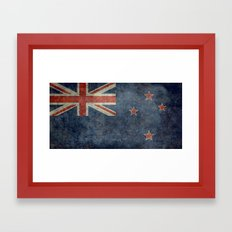 National flag of New Zealand - Retro vintage version to scale Framed Art Print
