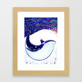 Here goes the Black Whale - Colored Framed Art Print