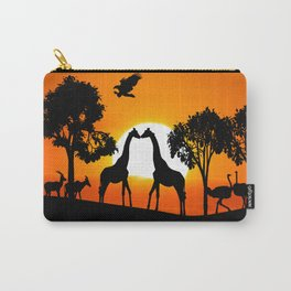 Giraffe silhouettes at sunset Carry-All Pouch