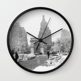 New York City Winter Snow Wall Clock