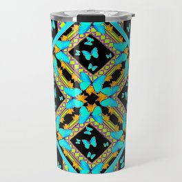 Decorative Western Style Turquoise Butterflies  Black Gold Patterns Travel Mug