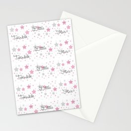 Twinkle Little Star Pink Baby Girl Nursery Stationery Cards