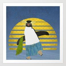Northern Rockhopper Penguin on Spring Break Art Print