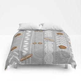 Scarves Knitted Buttoned - Gray Comforters
