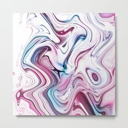 Liquid Marble - Pink and Blue Metal Print