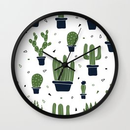 Cactus Plants Pattern- Green Wall Clock