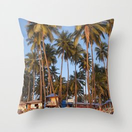 Palm Lined Beach Palolem Throw Pillow