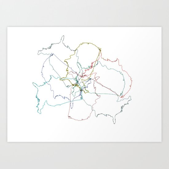 Map collage Art Print
