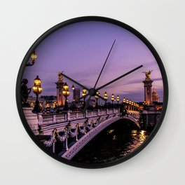 Sunset over Paris Bridge (Color) Wall Clock
