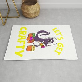 Lets Get Crafty Cute Painting Skunk Graphic For Creatives Rug