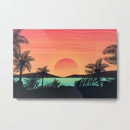 Palm trees silhouettes on colorful tropical ocean sunset background hand drawn illustration Metal Print