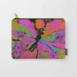 Pop art pink and green butterfly with orange and yellow Carry-All Pouch