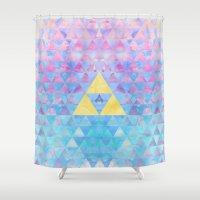 zelda Shower Curtains featuring Zelda Geometry by enthousiasme