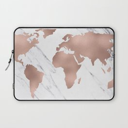 Marble World Map Rose Gold Pink Laptop Sleeve