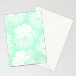 Tropical neo mint white monster leaves lotus floral Stationery Cards