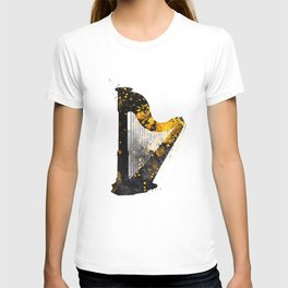 Harp music art gold and black #harp #music T-shirt