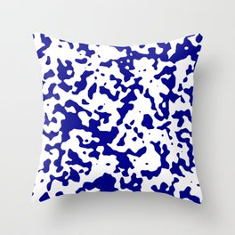 Spots - White and Dark Blue Throw Pillow