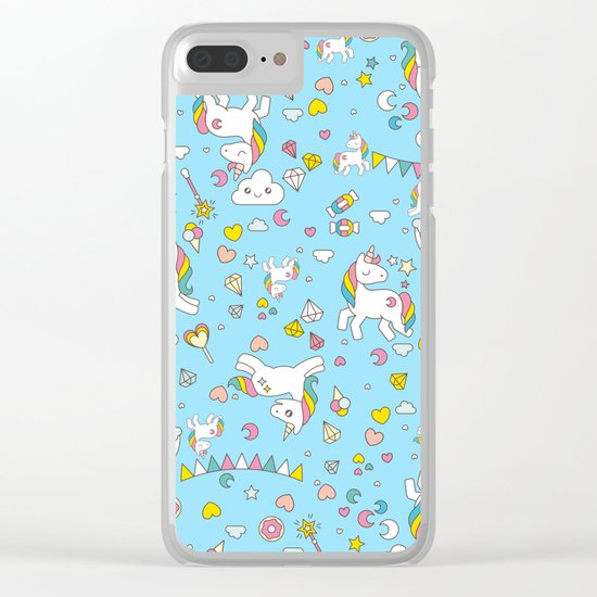 Unicorn Light Blue Pattern Clear iPhone Case