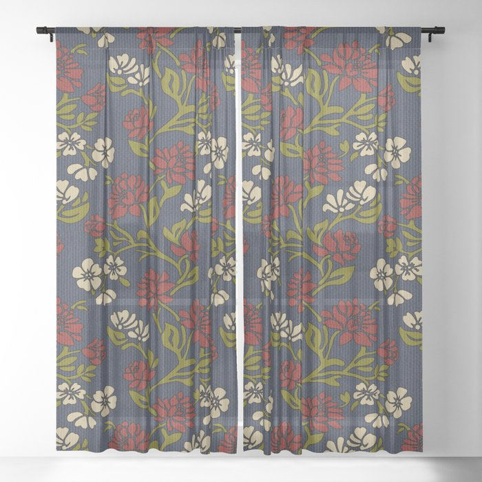 Vintage style victorian floral upholstery fabric Sheer Curtain