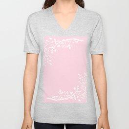 Floral Frame Pink Unisex V-Neck