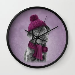Drawing Puppy Cane Corso in hat and scarf Wall Clock