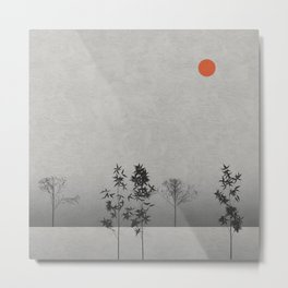 Trees Landscape with Bamboo and The Sun High Metal Print