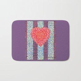 High Energy Squiggle Heart - Impressionist Heart Art Bath Mat