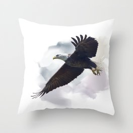 american bald eagle in flight ,watercolor painting Throw Pillow
