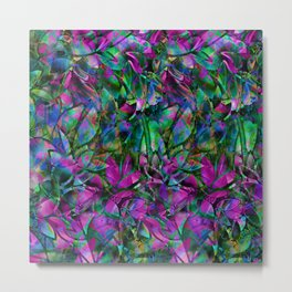 Floral Abstract Stained Glass G276 Metal Print