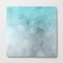 Aqua Turquoise Grey Soft Gradient Bokeh Lights Metal Print