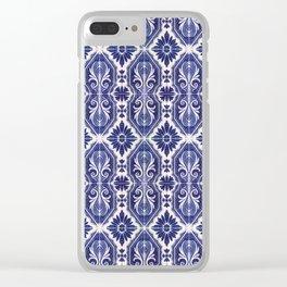 Portuguese Tiles Azulejos Blue White Pattern Clear iPhone Case
