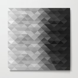 Grayscale triangle geometric squares pattern Metal Print