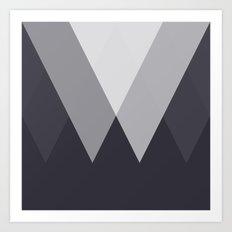 Sawtooth Inverted Blue Grey Art Print