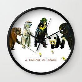A Sleuth of Bears Wall Clock