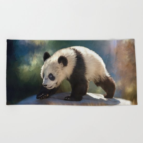 Cute panda bear baby Beach Towel