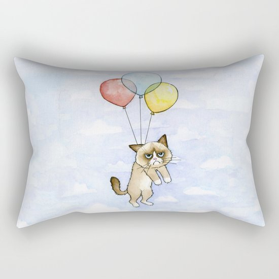Cat With Balloons Grumpy Birthday Meme Rectangular Pillow