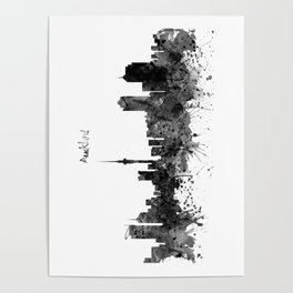 Auckland Black and White Watercolor Skyline Poster