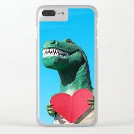 Tiny Arms, Big Heart: Tyrannosaurus Rex with Red Heart Clear iPhone Case