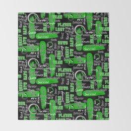 Gamer Lingo-Black and Green Throw Blanket