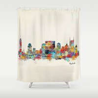 tennessee Shower Curtains featuring music city tennessee skyline by bri.buckley