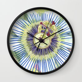 Passionflower Watercolor Wall Clock