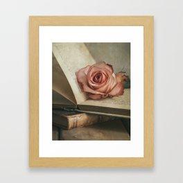 Still life with pink rose and old books Framed Art Print