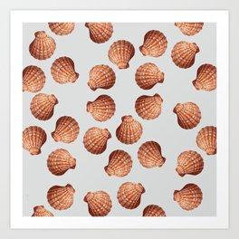 Grey Big Clam pattern Illustration design Art Print