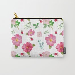 Botanical pink country roses hip floral pattern Carry-All Pouch