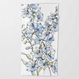 Blue Delphinium Flowers Beach Towel