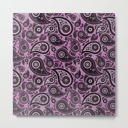 Orchid Purple Paisley Pattern Metal Print