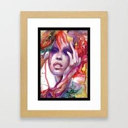 Migraine Watercolor Girl Framed Art Print