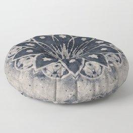 Mandala, Flower, Indigo Blue, Boho Art Floor Pillow